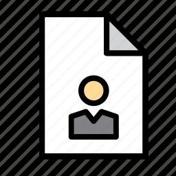 curriculum, cv, document, file, folio, man, portofolio icon