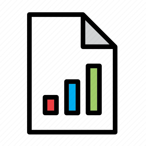 document, file, finance, graph, graphic, pipe, vertical bar icon