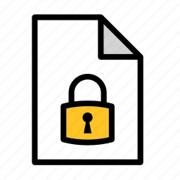 document, file, lock, locked, padlock, protection, security icon