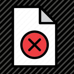 cancel, cross, delete, document, error, file, remove icon