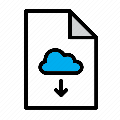 arrow, cloud, document, download, file, format icon
