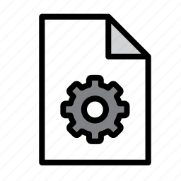 cogwheel, document, file, format, gear, options icon