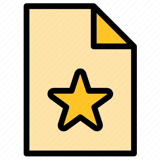 document, extension, favorite, favourite, file, star icon