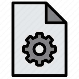 cog, cogwheel, document, extension, file, gear, settings icon