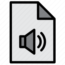 audio, document, extension, file, sound, speaker icon