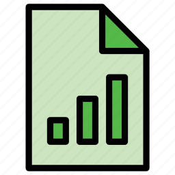 document, extension, file, finance, graph, pipe, vertical bar icon