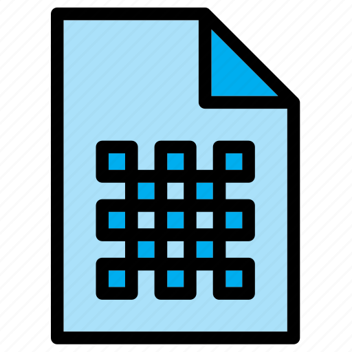 document, extension, file, grid icon