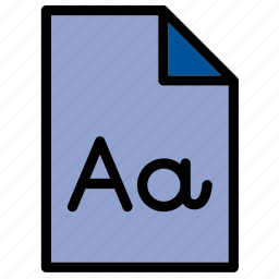 document, extension, file, font, format icon