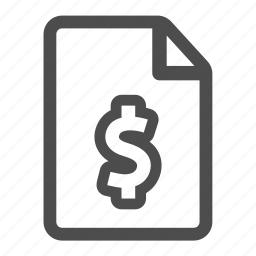 currency, document, dollar, file, money, page, paper icon