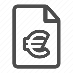 currency, document, euro, file, money, page, paper icon