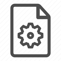 document, file, gear, gog, mechanical, page, paper icon