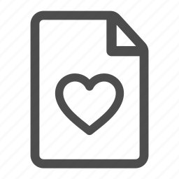 document, file, heart, like, love, page, paper icon