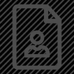 document, file, page, paper, personal, profile, record icon