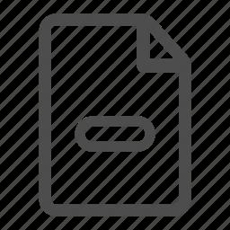 delete, document, file, less, page, paper, remove icon