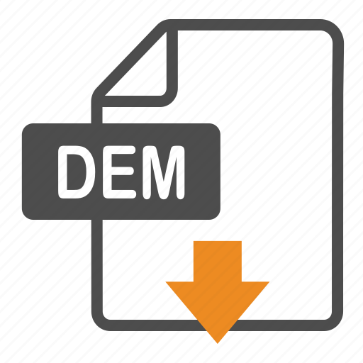 dem, document, download, extension, file, format icon