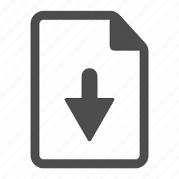 arrow, document, down, download, file, page, paper icon