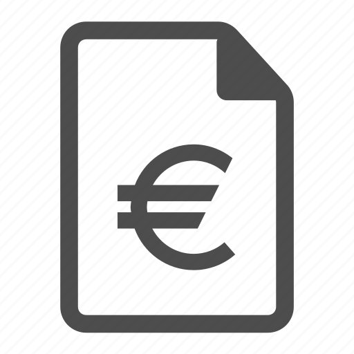 business, currency, euro, file, finance, financial, money icon