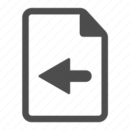 arrow, back, document, file, left, page, paper icon