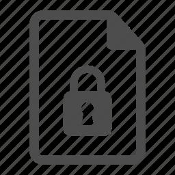 document, file, lock, padlock, page, paper, sheet icon