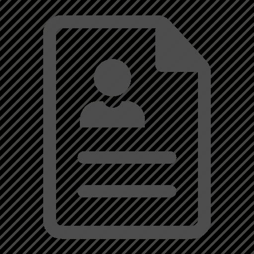 account, curriculum, document, personal, profile, user, vitae icon