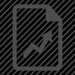 analytics, arrow, grow, paper, sheet, stat, statistics icon