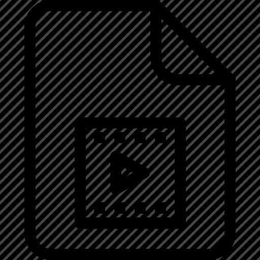 document, document file, document record, documentation, paper sheet, record files icon, video icon