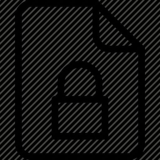 document, document file, document record, documentation, lock, paper sheet, record files icon icon