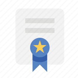 award, certificate, files, ribbon icon