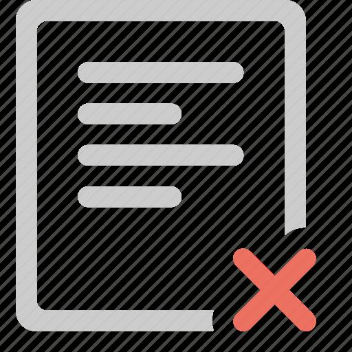 cancel, document, error, file, paper icon