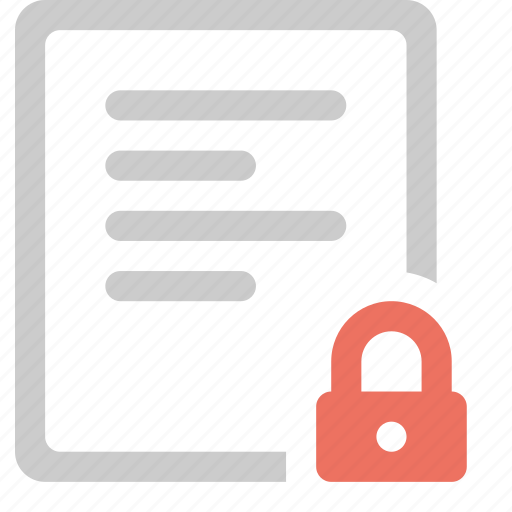 document, file, format, lock, protection, secure, security icon