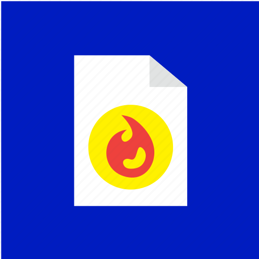 extension, file, filetype, fire, format icon