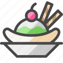 banana split, dessert, culinary, menu, cuisine