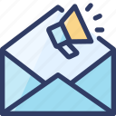 email, loudspeaker, mail, marketing, seo icon