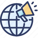 globe, internet, loudspeaker, marketing, online, seo icon