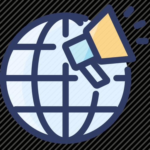 globe, internet, loudspeaker, marketing, online, seo icon