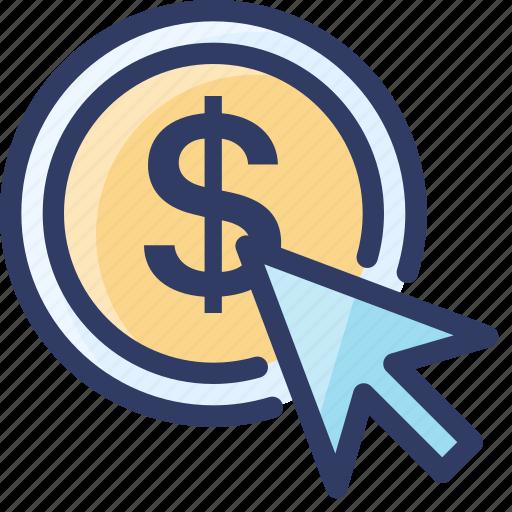 click, cost, cpc, money, pay, ppc, seo icon