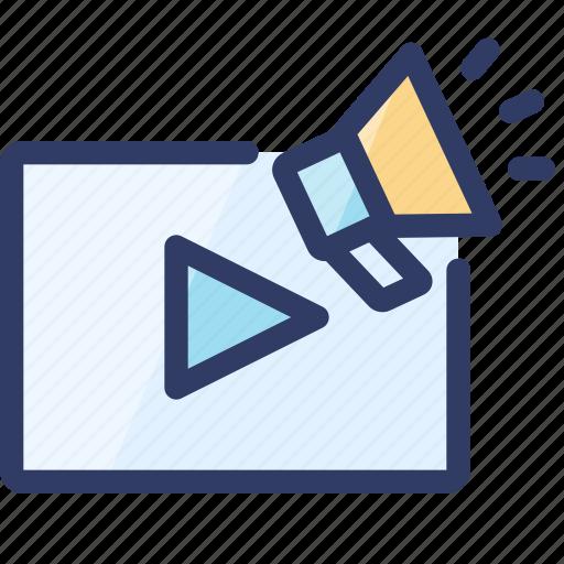 audio, loudspeaker, marketing, seo, video icon