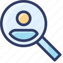 investigate, research, search, seo, user icon