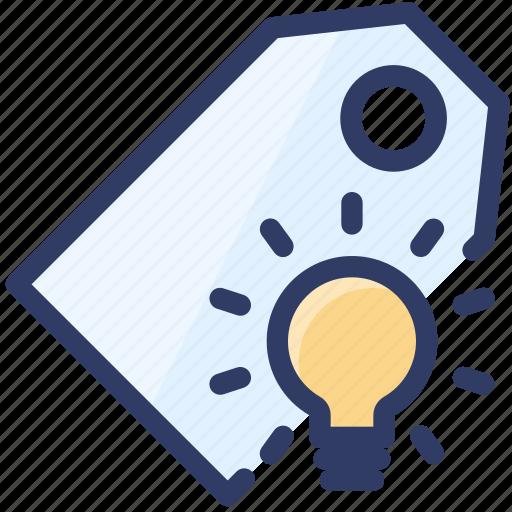 keyword, lightbulb, marketing, seo, smart, tag icon