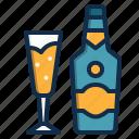 alcohol, restaurant, drink, element, beverage, champagne icon