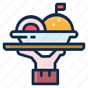 element, food, kitchen, plate, restaurant, served, tray icon
