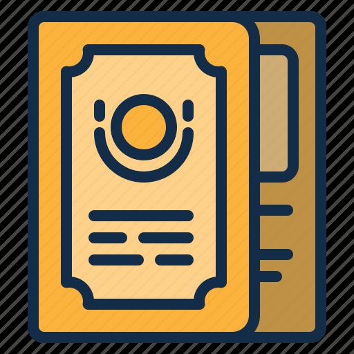 book, element, menu, restaurant icon