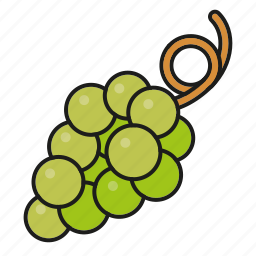 food, fresh, fruit, grapes, green, wine icon