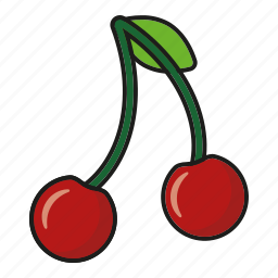 cherries, cherry, food, fresh, fruit, pair, sweet icon