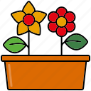 equipment, flower bed, flower pot, flowers, gardening, patch, tools icon