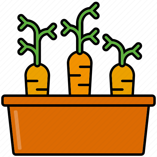 carrots, equipment, flower pot, gardening, patch, vegetables icon