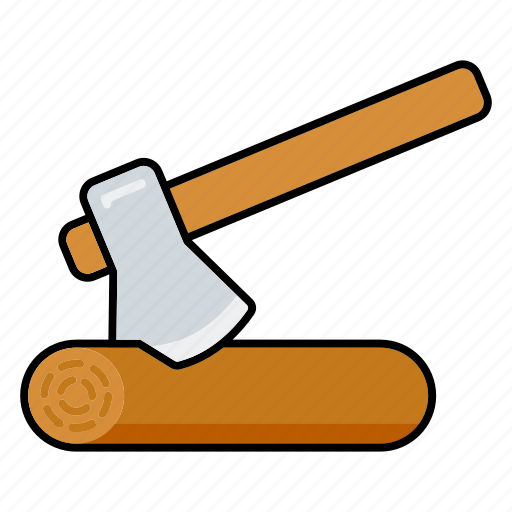 axe, equipment, gardening, log, tools, wood icon