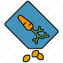 bag, carrot, equipment, gardening, seed, vegetables icon