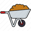 dung, equipment, gardening, tools, wheelbarrow icon