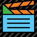 clapper, color, film, movie, outline, project